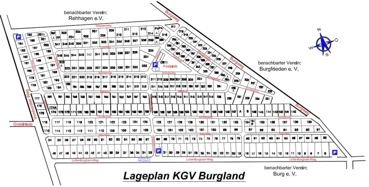 Kleingärtnerverein Burgland e.V. Gartenplan